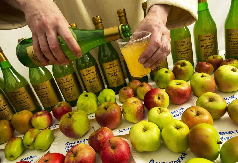 Freshly pressed apple juice from Pluscarden Abbey.