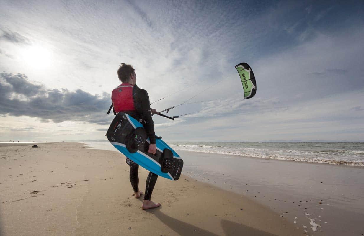 Kitesurfing on Findhorn beach.